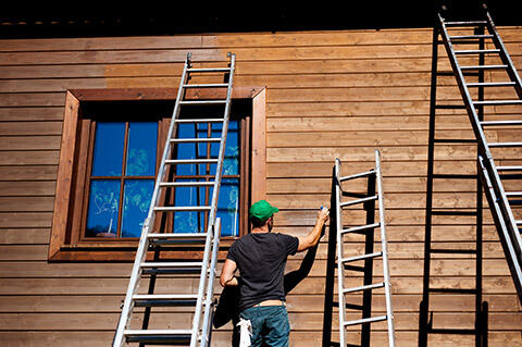 Painting wooden facade
